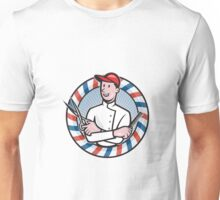 Barber With Scissors and Comb Cartoon Unisex T-Shirt