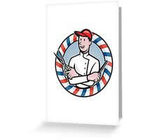 Barber With Scissors and Comb Cartoon Greeting Card