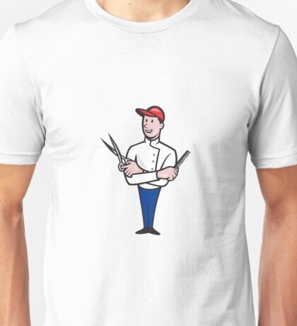 Barber Comb and Scissors Cartoon  Unisex T-Shirt