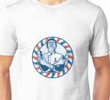 Barber With Pole Hair Clipper and Scissors Retro  Unisex T-Shirt