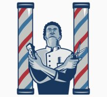 Barber With Pole Hair Clipper and Scissors Retro  T-Shirt