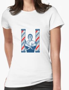 Barber With Pole Hair Clipper and Scissors Retro  Womens Fitted T-Shirt