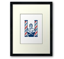 Barber With Pole Hair Clipper and Scissors Retro  Framed Print
