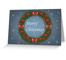 Christmas wreath with red berries Greeting Card