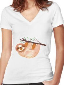 Kawaii Sloth Watercolor Women's Fitted V-Neck T-Shirt