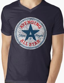 Avenging All Star (Tri-Color Distressed) Mens V-Neck T-Shirt