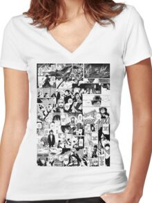 Manga Collage Women's Fitted V-Neck T-Shirt