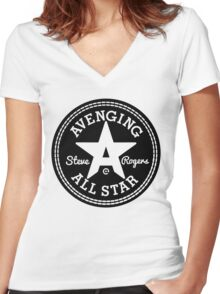Avenging All Star (Black) Women's Fitted V-Neck T-Shirt