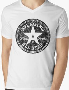 Avenging All Star (Black Distressed) Mens V-Neck T-Shirt