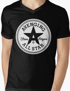Avenging All Star (White) Mens V-Neck T-Shirt