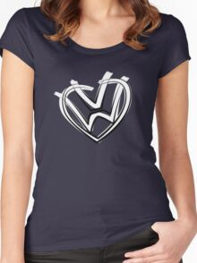 VW heart logo in a painted style Women's Fitted Scoop T-Shirt