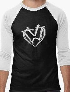 VW heart logo in a painted style Men's Baseball ¾ T-Shirt