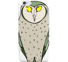 Handsome Green Owl on White iPhone Case/Skin