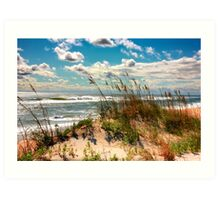FALL DAY AT THE BEACH Art Print
