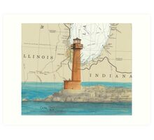 Buffington Hbr Lighthouse IN Nautical Map Cathy Peek Art Print