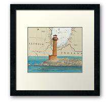 Buffington Hbr Lighthouse IN Nautical Map Cathy Peek Framed Print