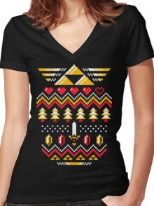 TRIFORCE HOLIDAY Women's Fitted V-Neck T-Shirt