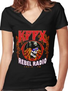 KPPX radio Women's Fitted V-Neck T-Shirt