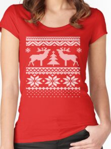 Ugly Sweater Christmas T Shirt Women's Fitted Scoop T-Shirt