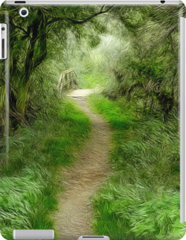 The Path to Willow Bridge iPad Case by John Edwards