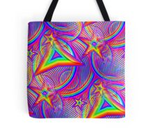 Vaporwave-Rainbow Geometry Tote Bag