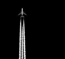 PLANE WITH CONTRAILS by Jean Gregory  Evans