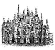 Milan Cathedral Drawing by Mario Perez