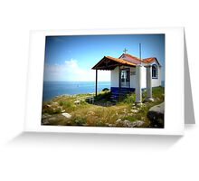 The little cliff-top church in Thassos. Greeting Card