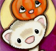 Ferret, Pumpkin, Moon by Shelly  Mundel
