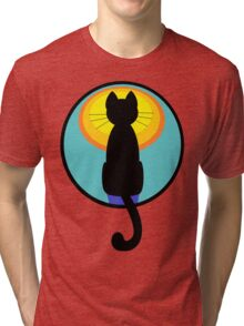 Sunrise Sunset Cat Tri-blend T-Shirt