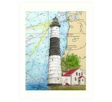 Big Sable Lighthouse Lake MI Chart Cathy Peek Art Print