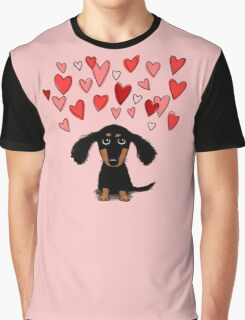 Cute Dachshund Puppy with Valentine Hearts Graphic T-Shirt