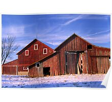 Double Barns Snow Cold Poster