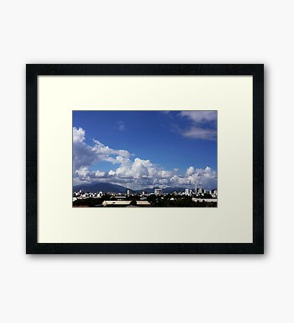 blue sky with clouds closeup clean and bright Framed Print