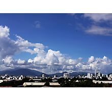 blue sky with clouds closeup clean and bright Photographic Print