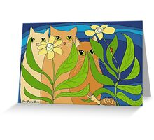 Three Cats, Two Flowers, One Snail and A Ladybug Greeting Card