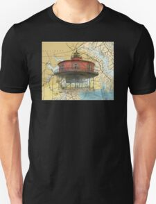 7 Foot Knoll Lighthouse MD Nautical Map Cathy Peek T-Shirt
