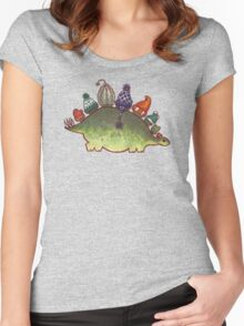 Green Stegosaurus Derposaur with Hats Women's Fitted Scoop T-Shirt