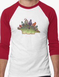 Green Stegosaurus Derposaur with Hats Men's Baseball ¾ T-Shirt