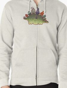 Green Stegosaurus Derposaur with Hats Zipped Hoodie