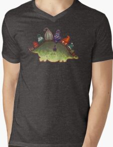 Green Stegosaurus Derposaur with Hats Mens V-Neck T-Shirt