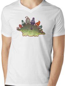 Green Stegosaurus Derposaur with Hats Mens V-Neck T-Shirt