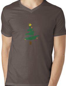 Brush Stroke Christmas Tree Mens V-Neck T-Shirt