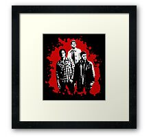 Castiel, Dean, and Sam on Red Supernatural Framed Print