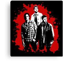 Castiel, Dean, and Sam on Red Supernatural Canvas Print