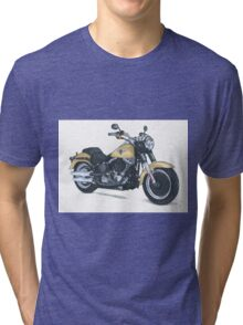 Illustrated Graphic Tee - Harley Fatboy motorcycle Tri-blend T-Shirt