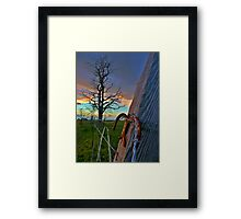 Lucky fence - sunset on a farm Framed Print