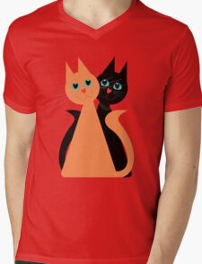 Feline Friends Mens V-Neck T-Shirt