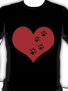 Dog Paws in Heart T-Shirt