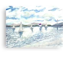sailboats sailing seascape beach watercolour painting art print Canvas Print